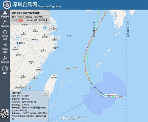 """第17号台风""""塔巴""""生成 中心附近最大风力8级"""