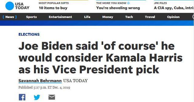 """""""女版奥巴马""""退选美国总统 拜登:考虑让她当"""