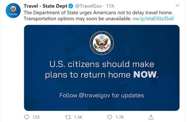 美国呼吁海外公民尽快回国 网友:现在美国国内还没外面安全呢