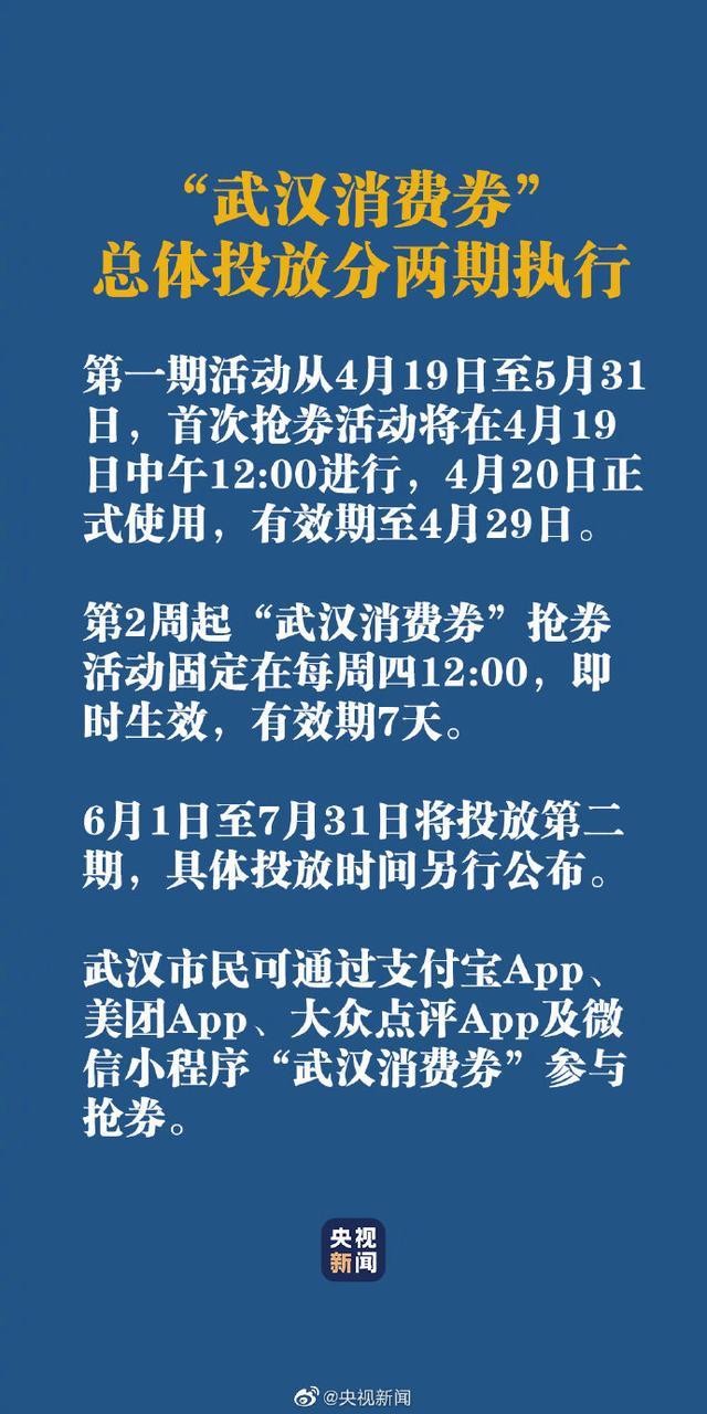 武汉消费券发放5亿元消费券 首次抢券将在19日中午12:00进行