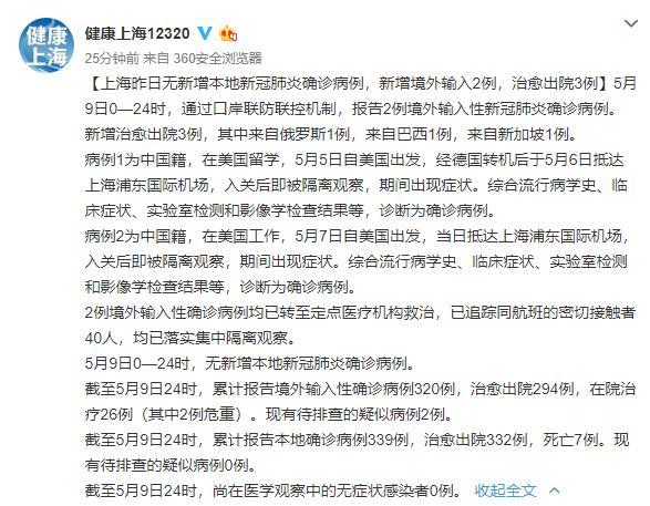 9日上海新增2例境外输入 本地无新增