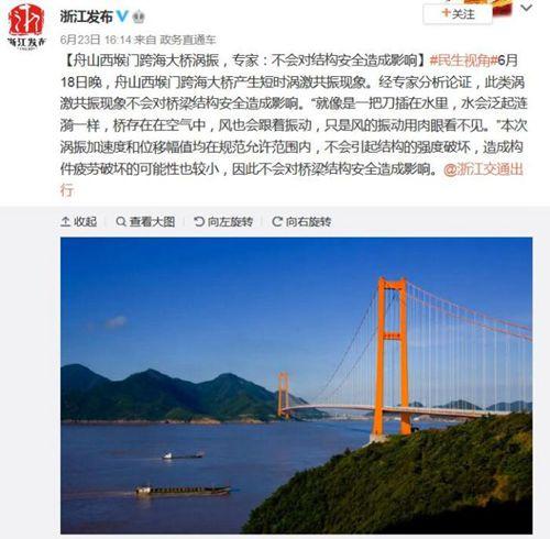 浙江舟山一跨海大桥涡振 专家:不会影响结构安全