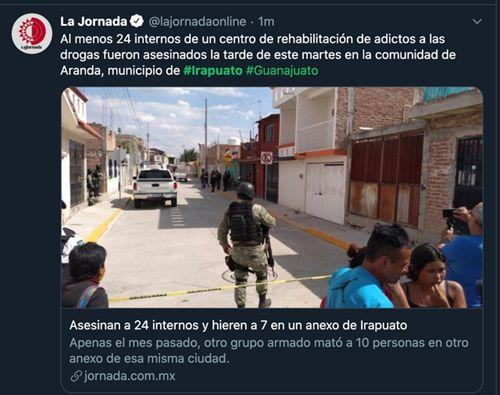 墨西哥发生枪击案致24死7伤 事发吸毒者康复中心