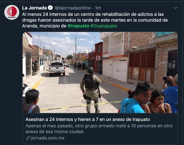 墨西哥发生枪击案致24死7伤 戒毒所遭受武装团伙袭击