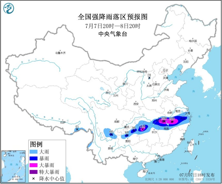 未来24小时湖北江西安徽等地将有特大暴雨