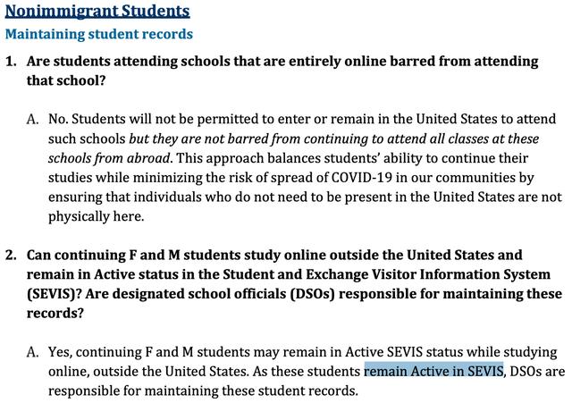 美国修改留学生签证新政 上网课未返校学生身份仍然有效