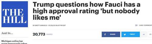 特朗普纳闷为什么福奇比他受欢迎 是装傻的吗