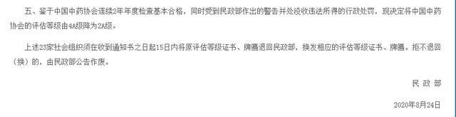 中国中药协会被降级 该协会因表彰鸿茅药业等企业而备受争议