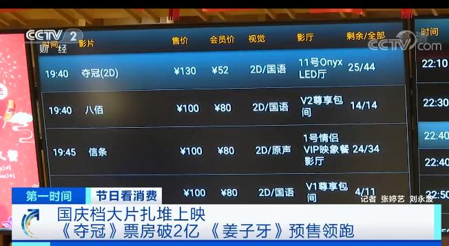国庆档首日预售票房破2亿