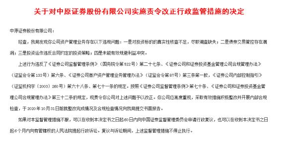 中原证券多项业务违规频遭处罚 多名高管被实施警示函