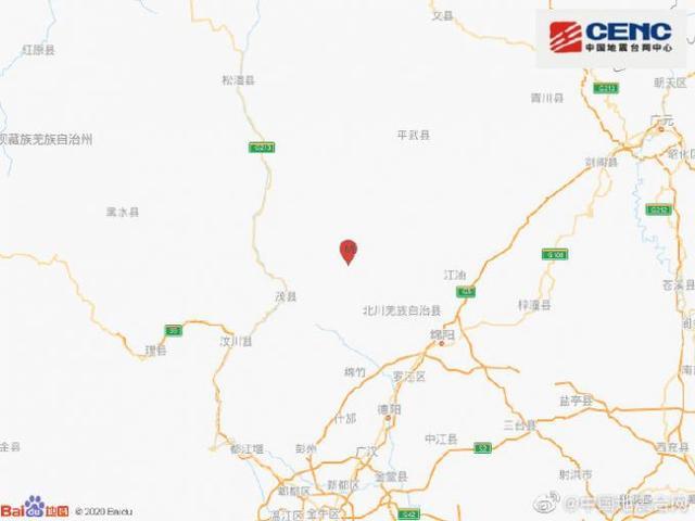 四川绵阳市北川县发生3.6级地震 震源深度12千米