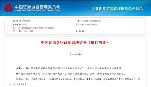辅仁药业因虚假记载等多项违规行为遭处罚 实控人朱文臣被罚禁入市场10年
