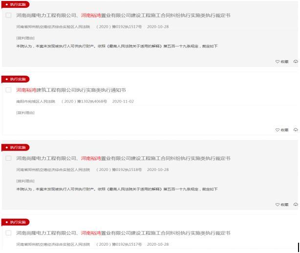 河南裕鸿置业官司缠身涉36项被执行人信息 当前被执行总金额超4亿元