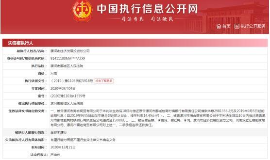 """漯河市经济发展投资公司被列入失信被执行人 法定代表人被""""限高"""""""